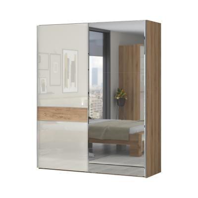 Tolóajtós magasfényű gardróbszekrény, 182x224 cm, tükörrel, törtfehér-diófa - ALIZE